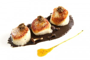 Scallops withs black garlic pesto